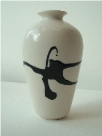 Black Splash on White Opaque Glaze - Large Vase | Christine-Ann Richards