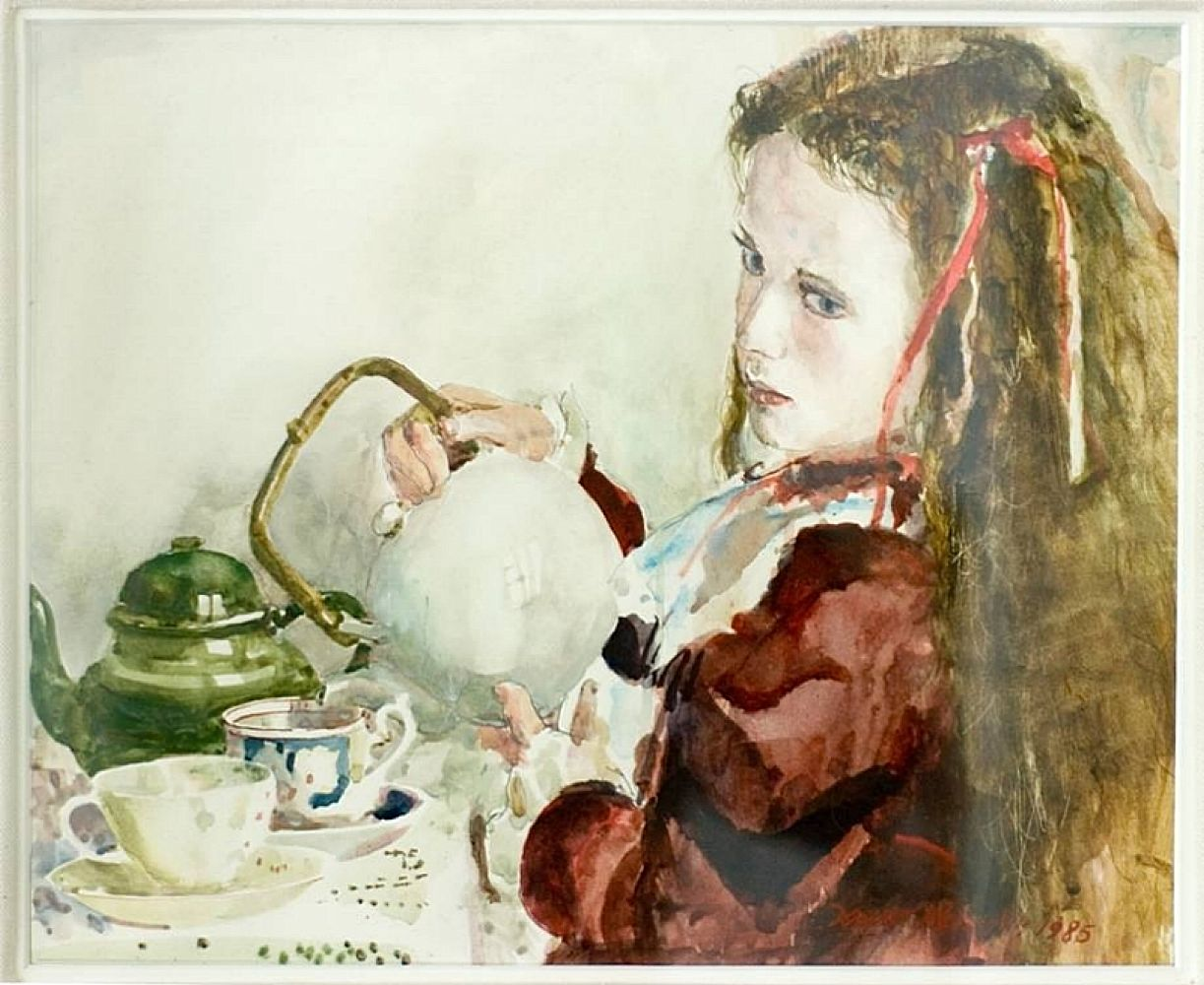 Emma and White Teapot | David Remfry