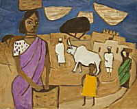 Mauve Sari and Buffaloes | Julian Trevelyan