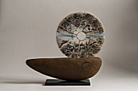 21. Boat - Raku disc mounted on clay base | Peter Hayes