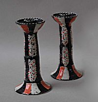 Pair of Candlesticks, Crimson Speckled Footman Moth design | Prue Piper